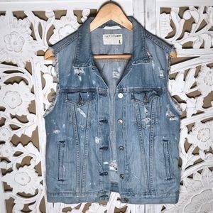 Rag & bone distressed denim vest